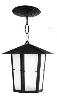 Luminária Pendente Sextavado Lustre Colonial De Teto Preto