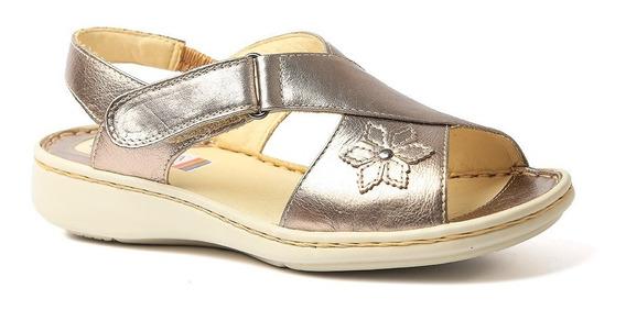 Sandália Feminina 293 Em Couro Metalic Doctor Shoes