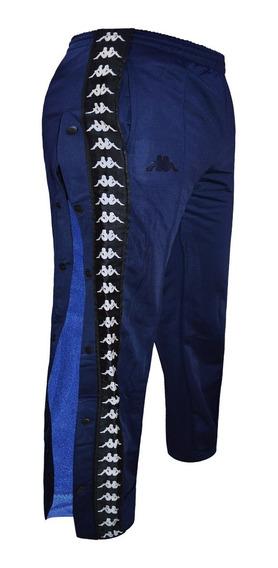Pantalon Kappa Banda Astoria Snaps Moda Con Botones Azul