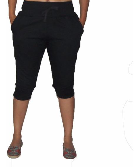 Bermuda Moletom Feminina Slim Capri Calça Skinny