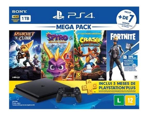 Vídeo Game Ps4 Slim 1 Tb Bundle Hits Mega Pack 8