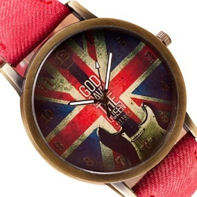 Relógio Vintage Bandeira Inglaterra Pulseira Tecido Vermelho
