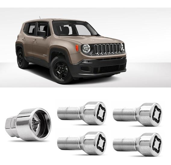 Jogo Parafuso Antifurto Roda Segredo Trava Proteção Jeep Renegade Sport M12x1,25 - 31 Cra