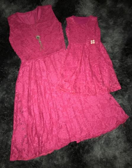 Vestido Tal Mãe Tal Filha Rodado Rendado 2 Adulto 1 Infantil