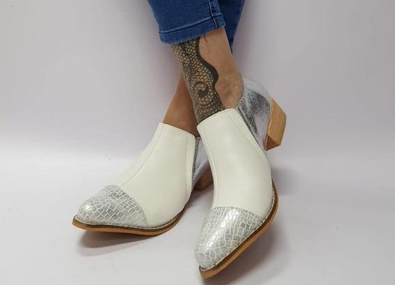 Zapato Stiletto Blanco Y Plateado Cuero 40 Último Par Oferta