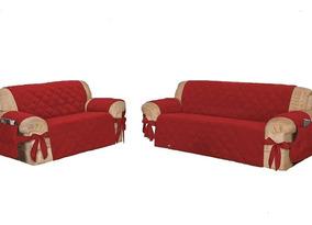 Kit Capa Protetor Sofa Jogo 3 , 2 Lugares Vermelho Com Laço