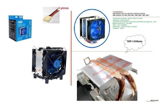 Cooler P/cpu Fan Duplo Azul- Lga1150/1151/1155/775 - Fm2/am3