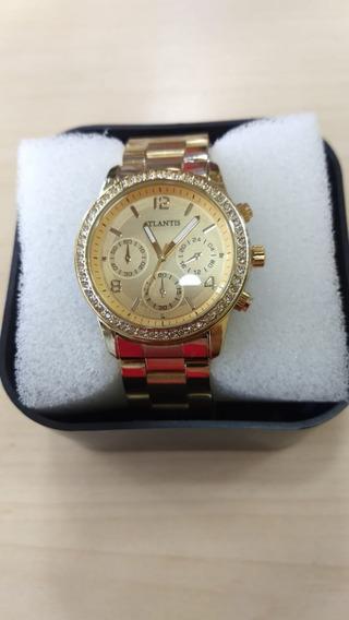 Relógio Atlantis Dourado Feminino Original - Lançamento Cx