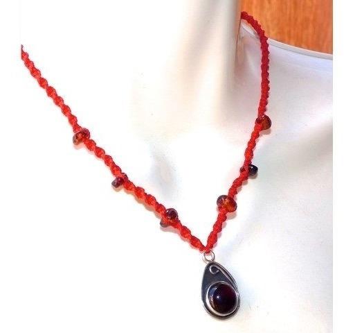 Collar Tejido Con Dije De Ámbar Rojo Autentico / Ajustable 6
