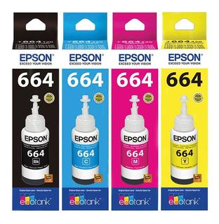 Combo Tinta Epson 664 Negro + 3 Color L210 L220 Original