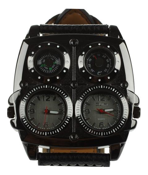 Relógio Masculino Oulm Multi-função Pulseira Couro 5cm