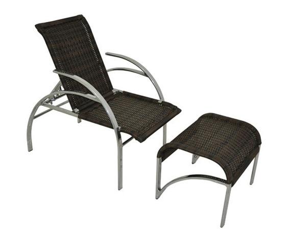 Cadeira Espreguiçadeira Com Puff Aluminio Fibra Vime Piscina