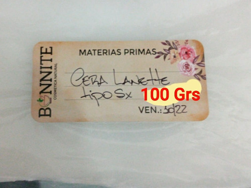 Cera Lanette Sx Natural Artesanal Bonnite 100 Gramos
