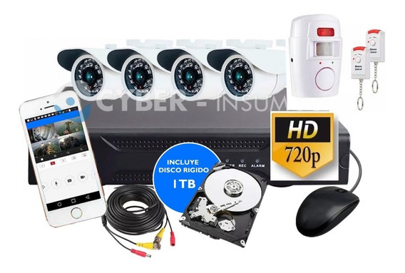 Kit Seguridad 4 Camaras Full Hd + Disco 1 Tb + Alarma