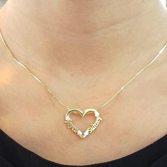 Colar Coração Duplo Com Nome Personalizado Banhado Em Ouro 18k
