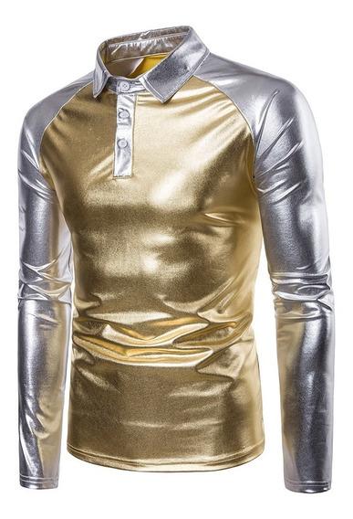 Brillante Patchwork Polo Collar T -camisa Polo La Camisa Par