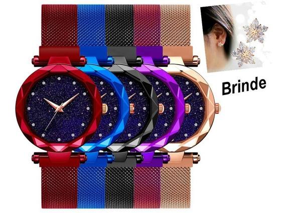 Relógio Feminino Universo Ímã Malha Aço Pulseira Magnética
