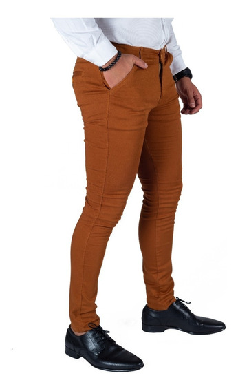 Pantalón Casual Skinny De Gabardina Strech Hombre