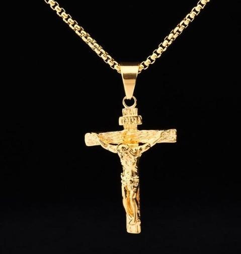Colar Masculino Com Crucifixo Banhado Ouro 18k Elos Fino