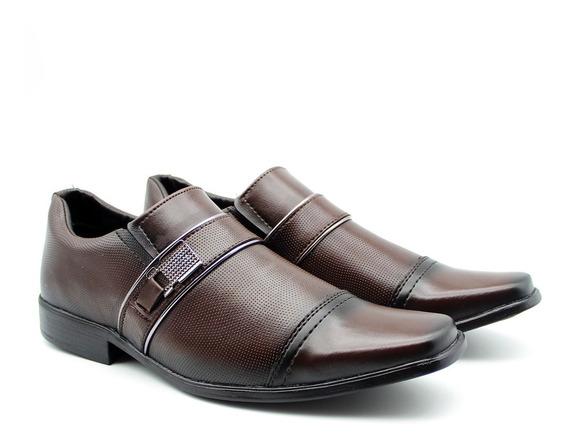Sapato Social Casual Bico Quadrado Masculino Cor Café 2035
