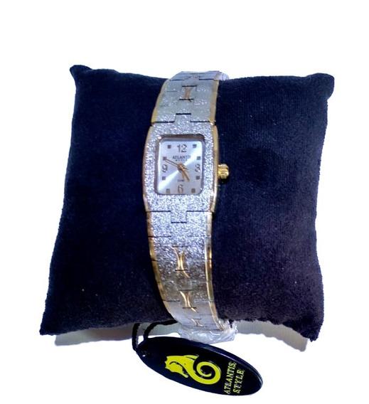 Relógio Atlantis Style Prata Detalhes Em Dourado - C694w