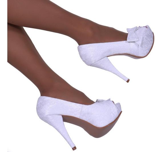 Sapato Sandália Casamento Noiva Renda Branca Up Shoes Ref205
