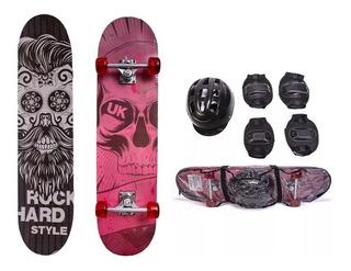 Skate Infantil C/ Acessórios Rock Hard Uniktoys Frete Gratis