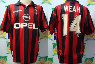 Camisa Oficial Futebol Milan Lotto Opel # 14 Weah Anos 90