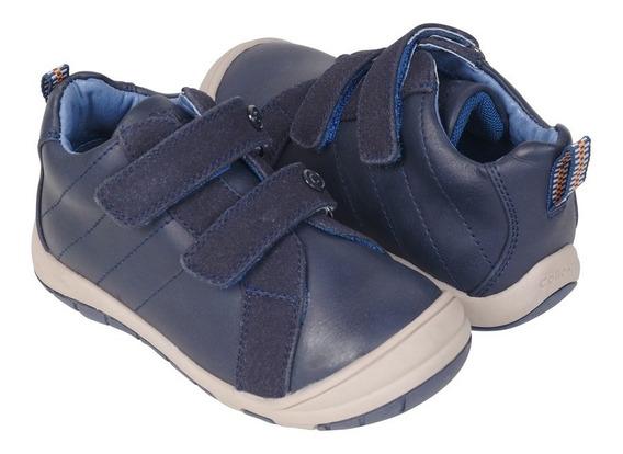 Botin Vestir Azul Con Velcro Switch & Play Niño Colloky