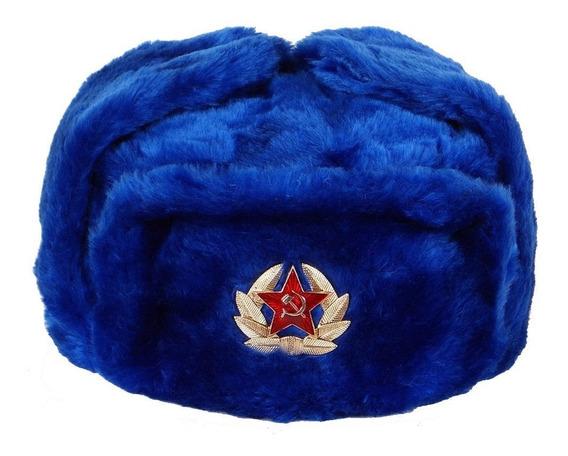 Ushanka Sombrero Ruso Ushanka Azul Con Insignia