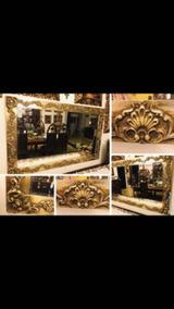 Espelho Cristal Bisotê Com Moldura Dourada