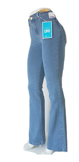Calça Sawary Jeans Feminina Flare Super Lipo Azul Aço