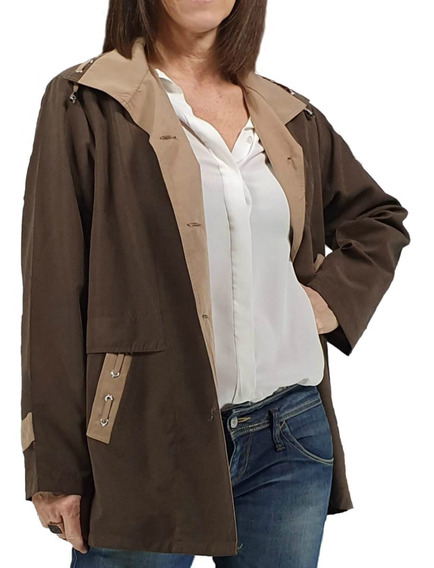 Piloto Campera Talles Grandes Mujer Microfibra Impermeable