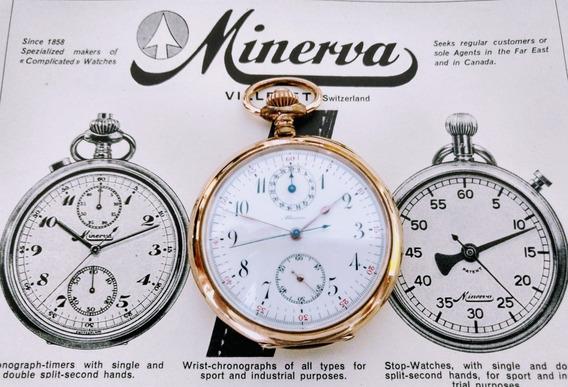 Cronografo Bolso Minerva Rarissimo 53mm Gigante Otimo