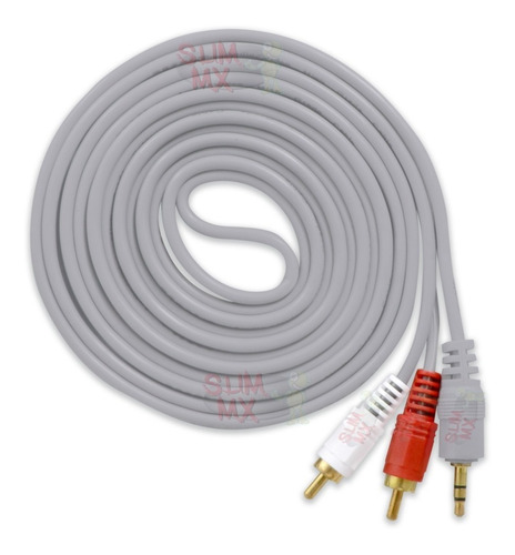 Imagen 1 de 10 de Cable Auxiliar De Audio 3.5 M A 2 Rca 3 Metros Estereo Aux