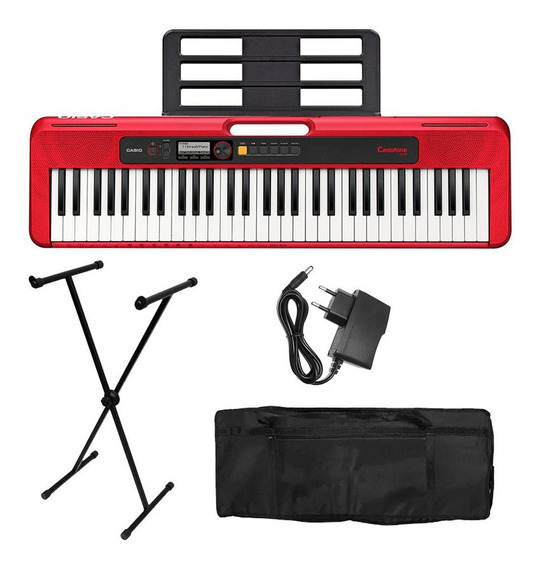 Kit Teclado Casio Casiotone Vermelho Ct-s200 Suporte E Bag