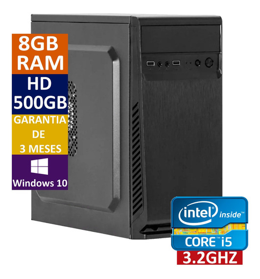 Pc Cpu Computador Intel Core I5 + 500 Hd + 8gb Ram + Win 10