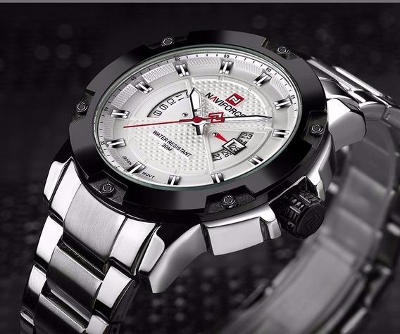 Relógio Masculino Naviforce Nf9085 Original Prata C/ Branco