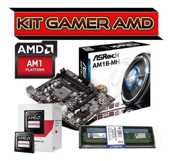 Kit Gamer Amd Dual Core + Placa Am1 Usb3, Hdmi + 4gb Ddr3