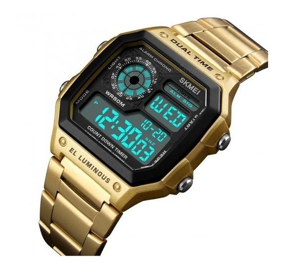 Relógio Masculino Esportivo Skmei Digital Ouro Promoção