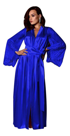 Bata De Baño Noche Dama Ropa Para Dormir Satín Kimono Pajama