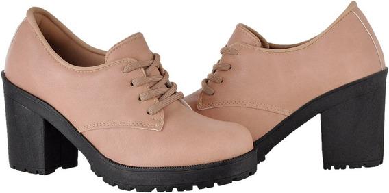 Sapato Feminino Salto Tratorado Verniz Cr Shoes 1710