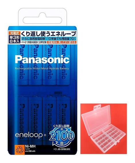 Kit 8 Pilhas Aa Recarregáveis Eneloop Panasonic + Case