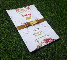 Kit 20 Convites 15 Anos, Debutante, Rendado, Dourado E Rosa