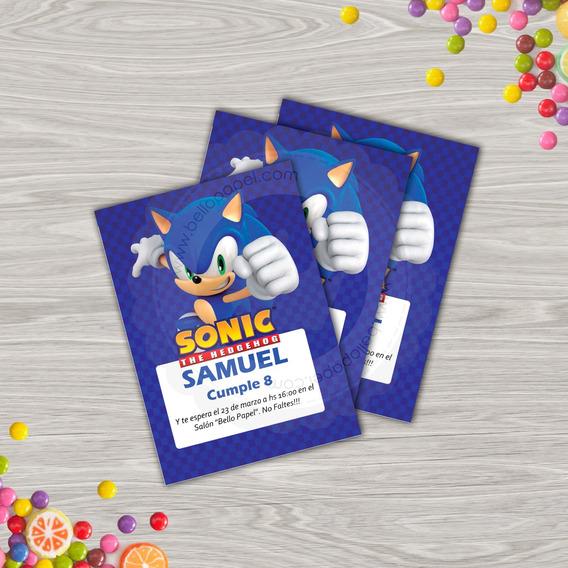 Kit Imprimible De Sonic Invitaciones Souvenirs Cotillón Y