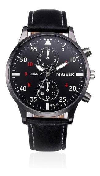 Relógio Masculino Migeer De Couro Preto Com Caixa