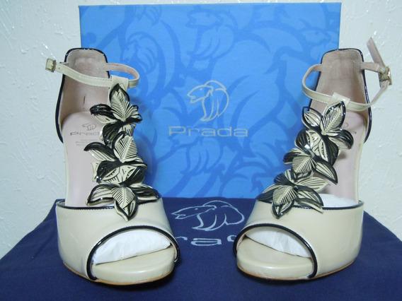 Zapatillas Styletto Prada Originales, Beige, Arena, Nuevos
