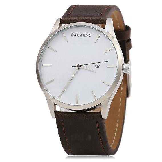 Relógio Estilo Militar Cagarny- Couro/ Frete Grátis