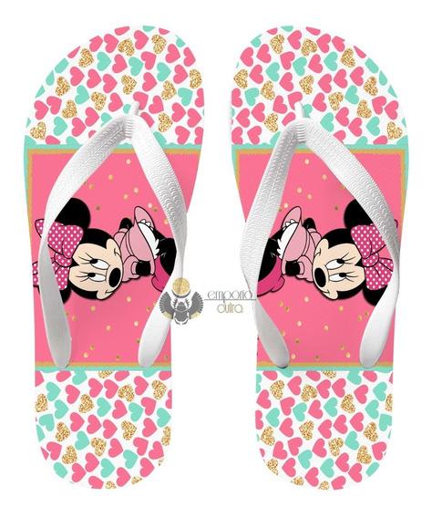 Chinelo Minnie Rosa Corações Namorada Mickey Disney Desenho