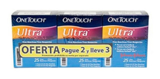 Oferta Tiras One Touch Ultra Pague 2 Lleve 3 Caja X 25 Und